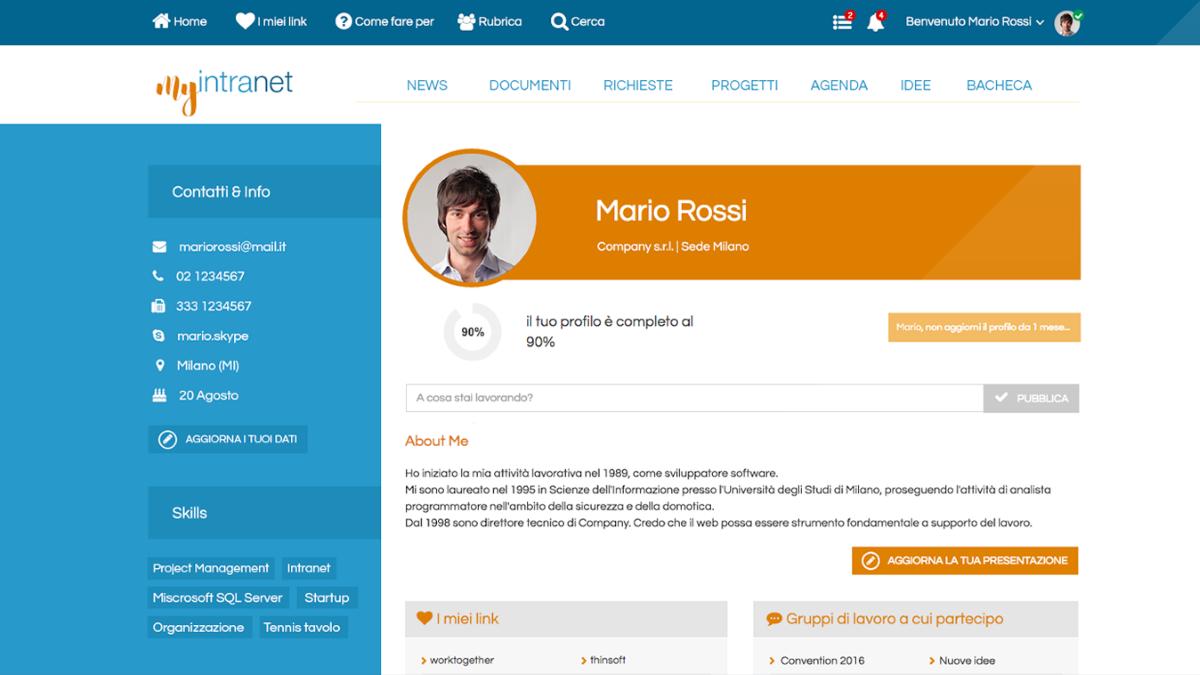 profilo utente personalizzabile intranet Worktogether