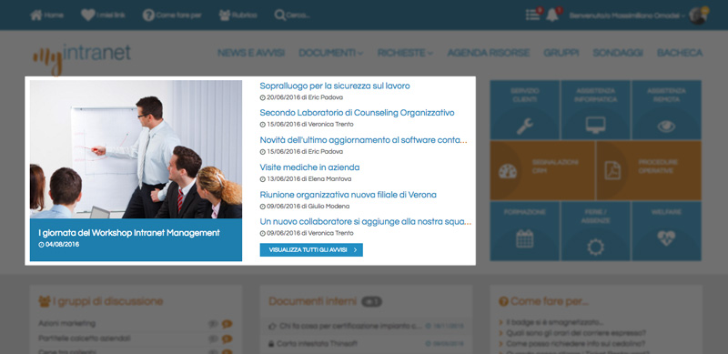 le news nell'intranet