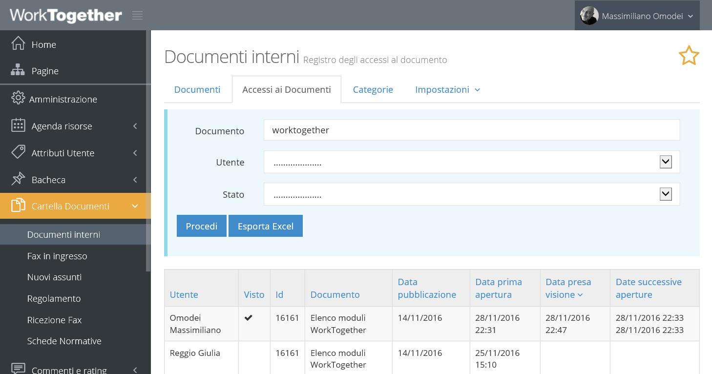 Registro delle letture di un documento