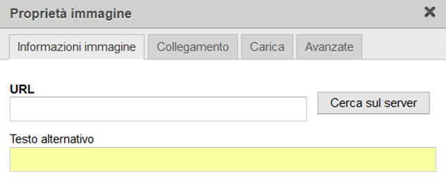 Esempio di proprietà di pagina per specificare ALT editor intranet Worktogether